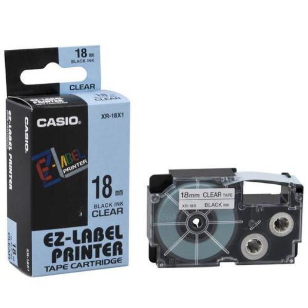 Casio XR-18X1 Tape Cassette 18mm X 8m - Black on Clear (pc)