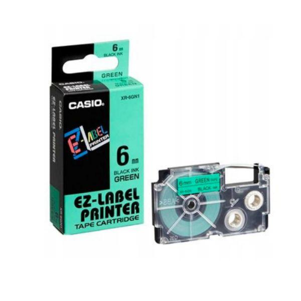 Casio XR-6GN1 Tape Cassette 6mm X 8m - Black on Green (pc)
