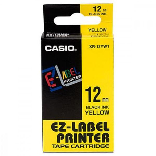 Casio XR-12YW1 Tape Cassette 12mm X 8m - Black on Yellow (pc)