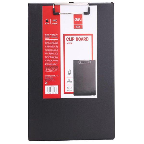 Deli E38153 PVC Coated A4 Clip Board - Black (pc)