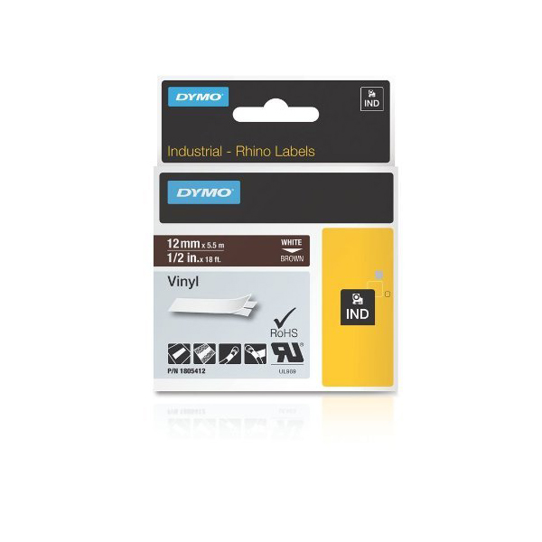 Dymo Rhino 1805412 Vinyl Label Tape 12mm x 5.5m - White on Brown (pc)