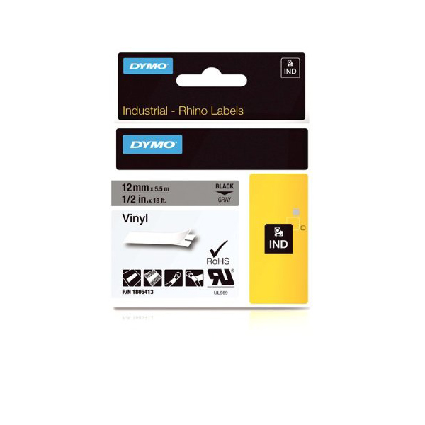 Dymo Rhino 1805413 Vinyl Label Tape 12mm x 5.5m - Black on Grey (pc)