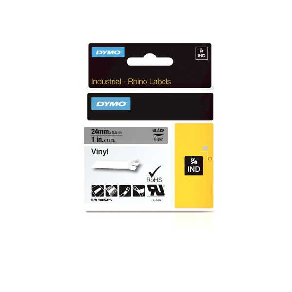 Dymo Rhino 1805425 Vinyl Label Tape 24mm x 5.5m - Black on Grey (pc)