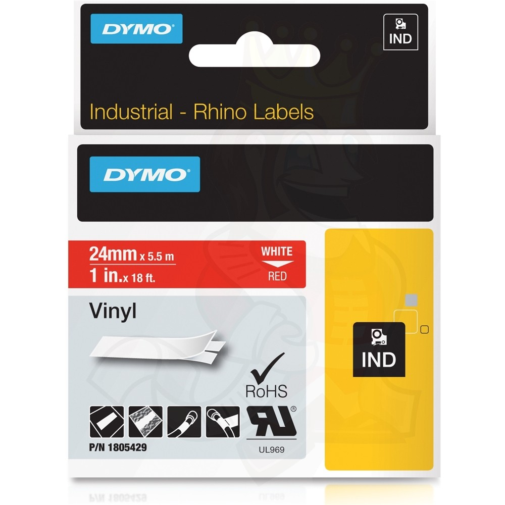 Dymo Rhino 1805429 Vinyl Label Tape Cassette 24mm x 5.5m - White on Red (pc)