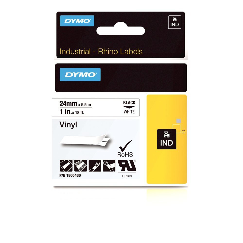 Dymo Rhino 1805430 Vinyl Label Tape 24mm x 5.5m - Black on White (pc)