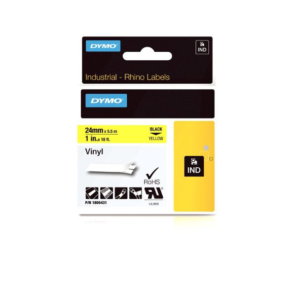 Dymo Rhino 1805431 Vinyl Label Tape Cassette 24mm x 5.5m - Black on Yellow (pc)