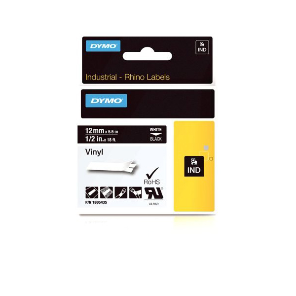 Dymo Rhino 1805435 Vinyl Label Tape 12mm x 5.5m - White on Black (pc)