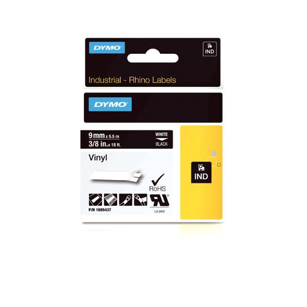 Dymo Rhino 1805437 Vinyl Label Tape 9mm x 5.5m - White on Black (pc)