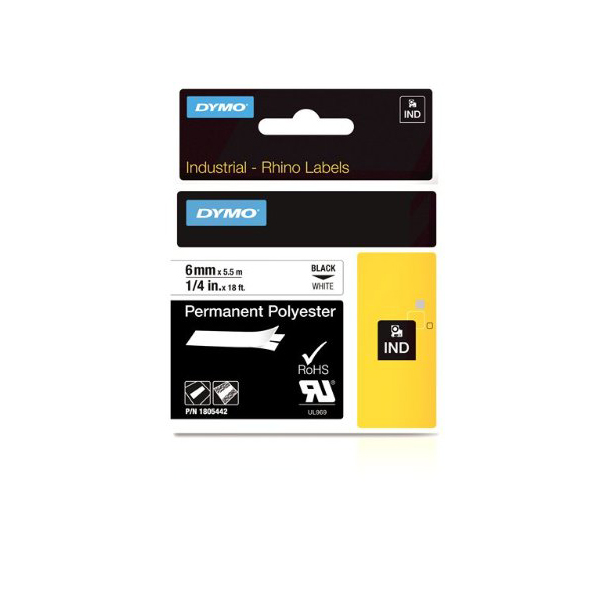 Dymo Rhino 1805442 Permanent Polyester Tape 6mm x 5.5m - Black on White (pc)