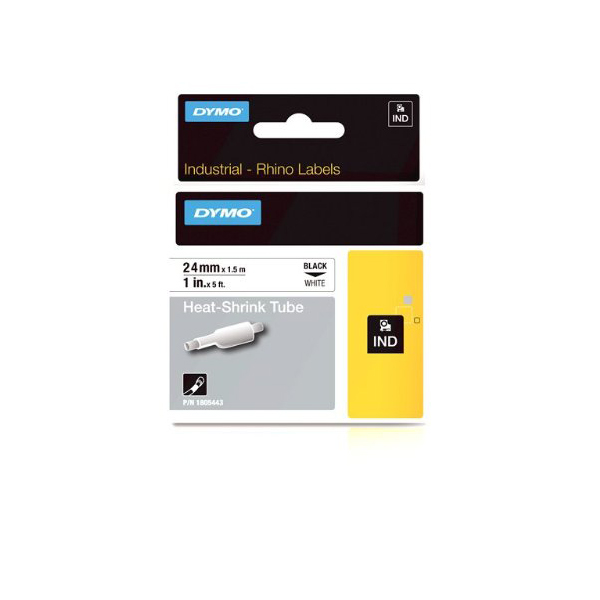 Dymo Rhino 1805443 Heat-Shrink Cable Label Tube 24mm x 1.5m - Black on White (pc)