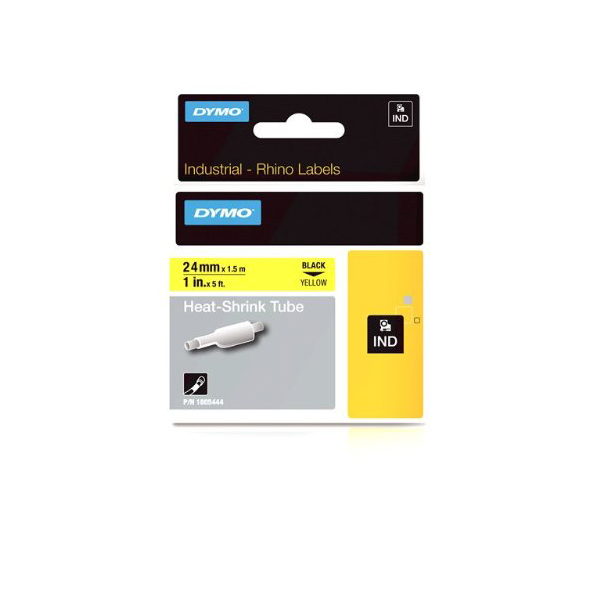 Dymo Rhino 1805444 Heat-Shrink Cable Label Tube 24mm x 1.5m - Black on Yellow (pc)