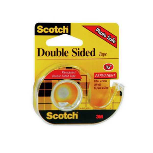 3M Scotch 136 Double-Sided Permanent Tape - 1/2in x 250in (pc)