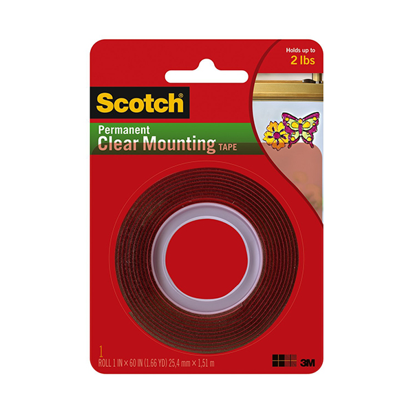 3M Scotch 4010 Clear Permanent Mounting Tape - 1in x 60in (pc)
