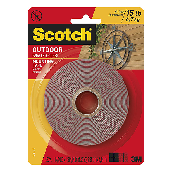 3M Scotch 4011 Permanent Outdoor Mounting Tape - 1in x 60in (pkt/5pcs)