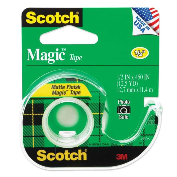 3M Scotch 104 Magic Tape + Dispenser - 1/2in x 450in (pkt/12pcs)