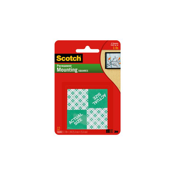 3M Scotch 111 Foam Permanent Mounting Squares - 1in x 1in (pkt/16pc)