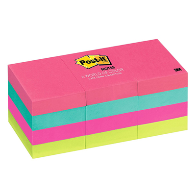 3M 653AU Post-it Pad 1.5 x 2in - Assorted (pkt/12pc)