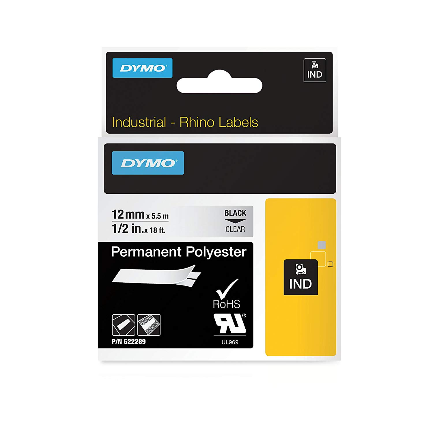 Dymo Rhino 622289 Permanent Polyester Tape 12mm x 5.5m - Black on Clear (pc)
