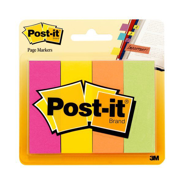 3M 671-4AF Post-it Fluorescent Page Markers - Assorted (pkt/4pcs)