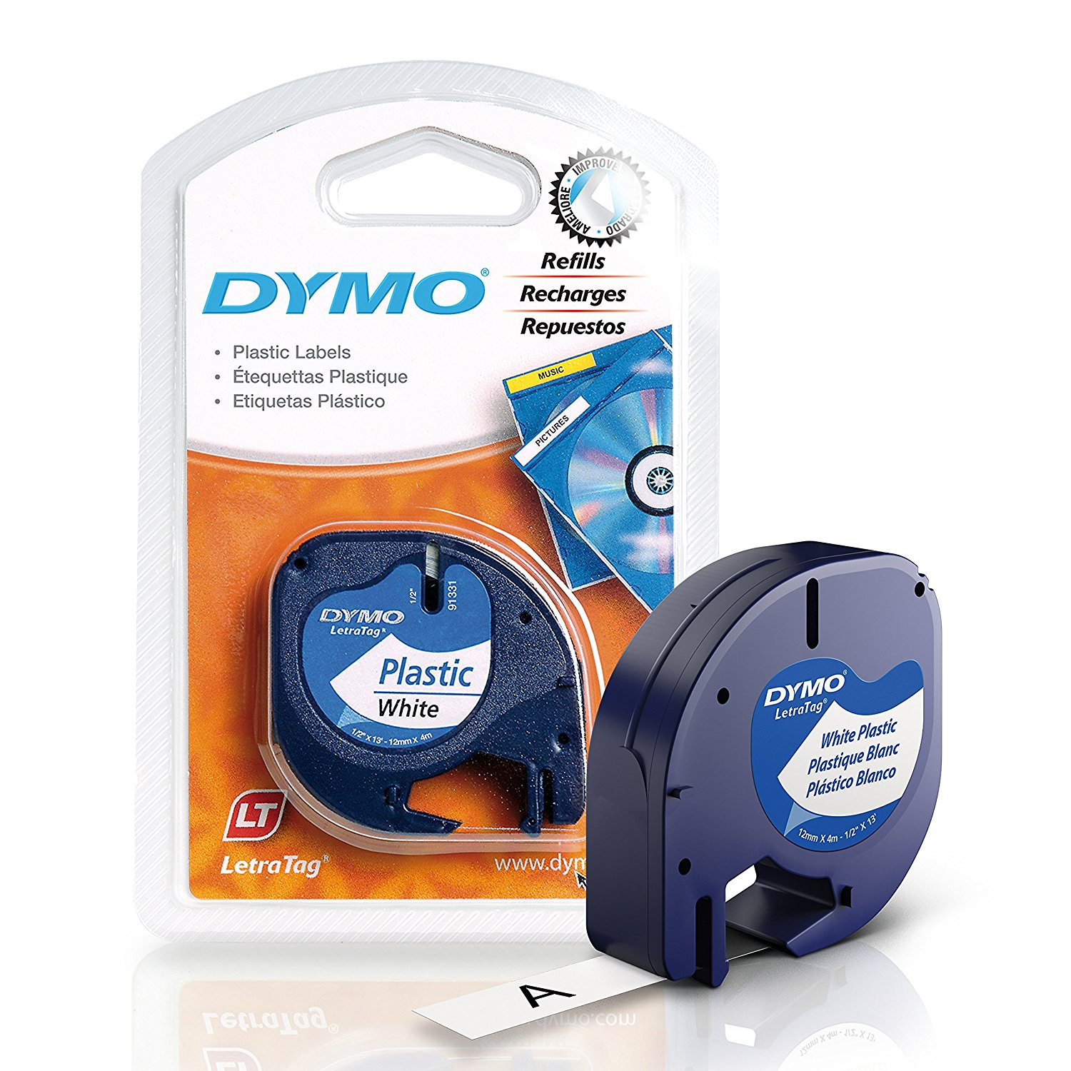Dymo LetraTag S0721610 (91201) Plastic Label Tape 12mm x 4m - Black on White (pc)