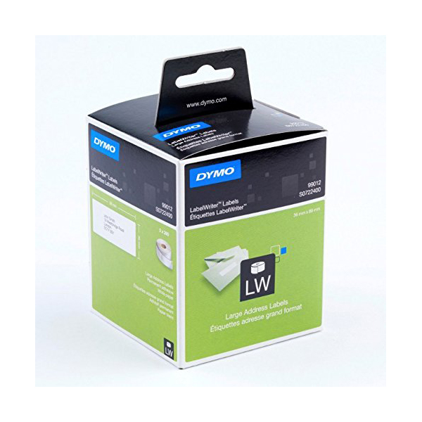 Dymo S0722400 (99012) Large Address Labels 89mm x 36mm 260 Labels/Roll - Black on White (pkt/2pcs)