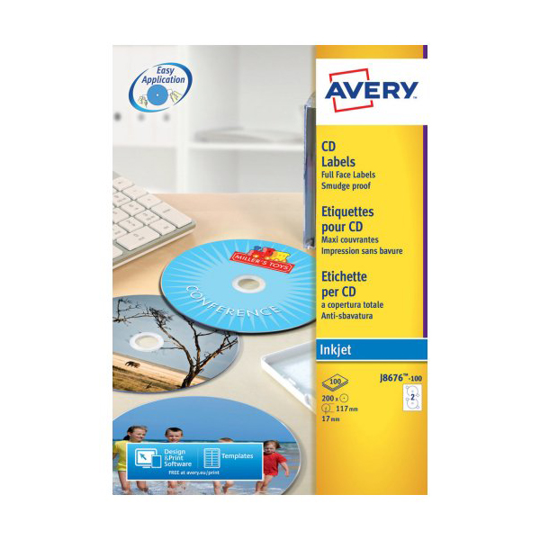 Avery CD Labels J8676-100 117mm (pkt)