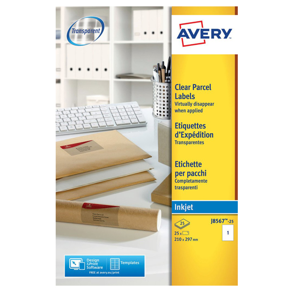 Avery Clear Parcel Label 8567-25sheet (pkt)
