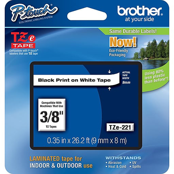 Brother Tze 221 9mm x 8m Label Tape 3/8in Black on White (pc)