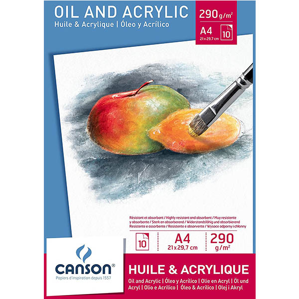 Canson Oil & Acrylic Paper Pads - A4 (pkt/10s)