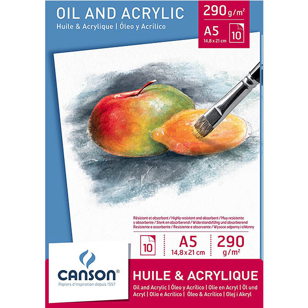 Canson Oil & Acrylic Paper Pads - A5 (pkt/10s)