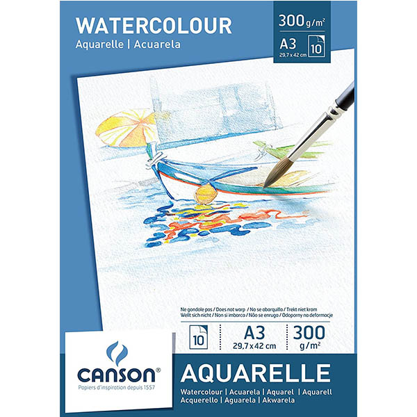 Canson Watercolor Paper Pads - A3 (pkt/10s)