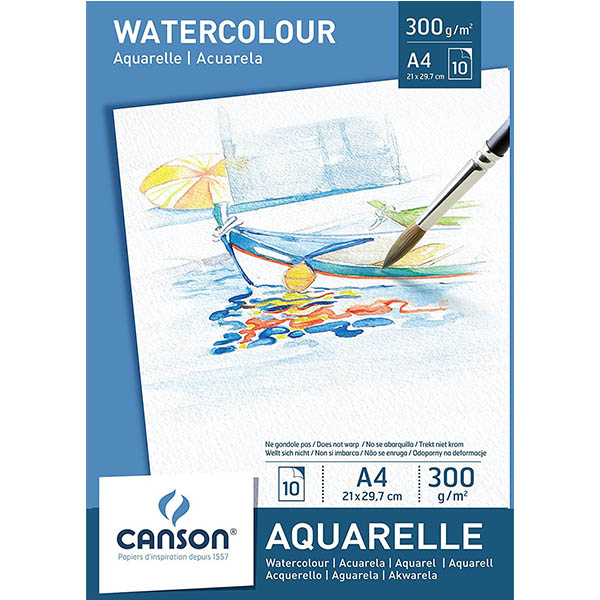 Canson Watercolor Paper Pads - A4 (pkt/10s)