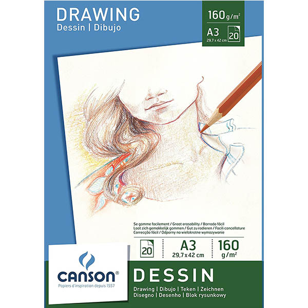 Canson White Drawing Paper Pads - A3 (pkt/20s)
