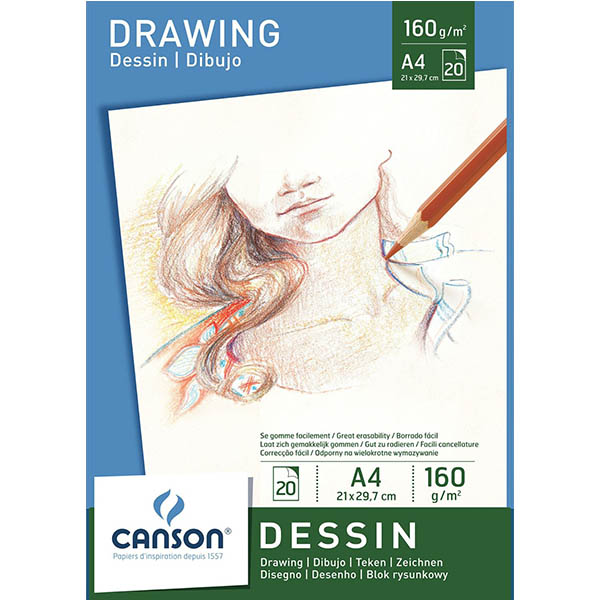 Canson White Drawing Paper Pads - A4 (pkt/20s)