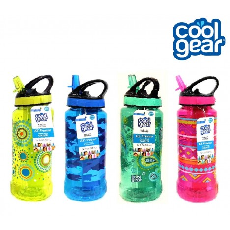 Cool Gear Rigid Printed EZ-Freeze Tritan Water Bottle - Blue (0.7L)