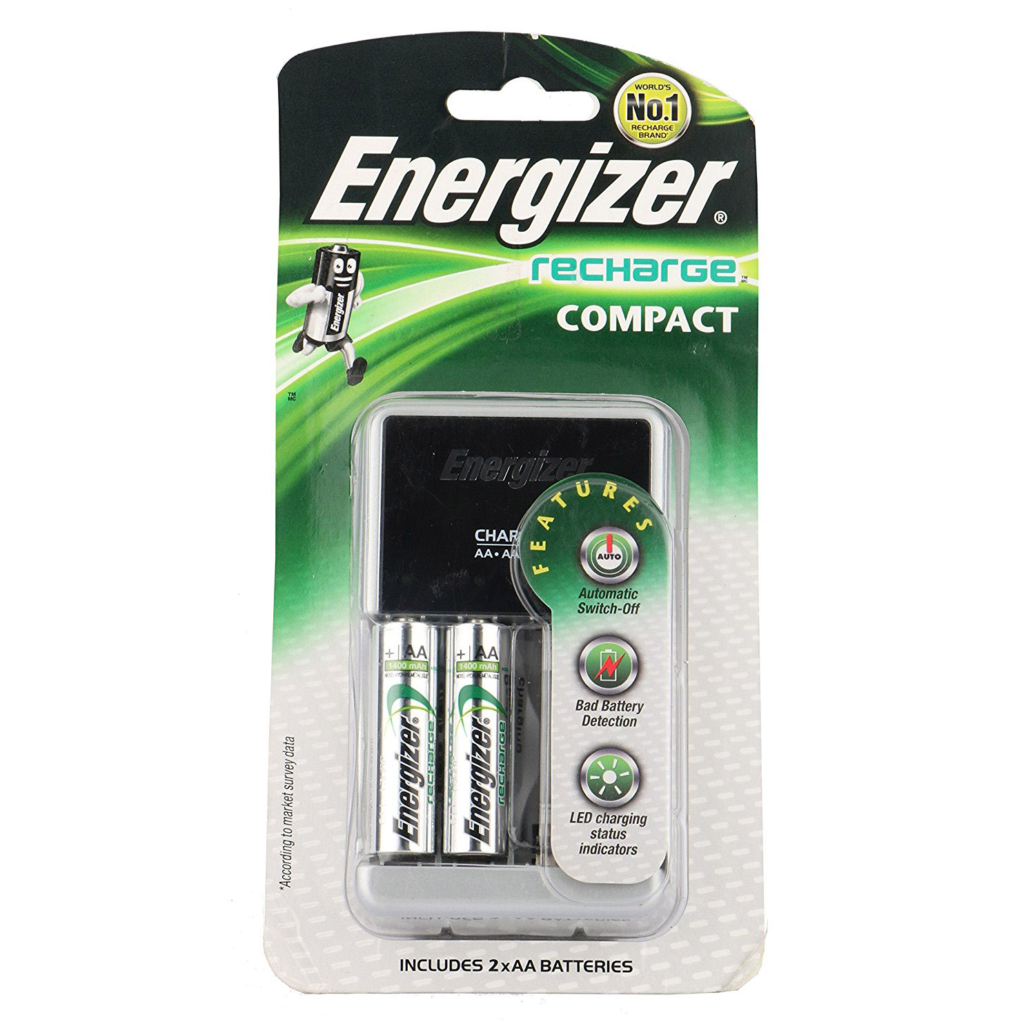 Energizer Compact Charger with 2 AA NiMH Rechargeable Battery - CHCCWB2 (pc)