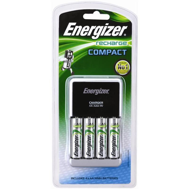 Energizer Compact Charger with 4 AA NiMH Rechargeable Battery - CHCCWB4 (pc)
