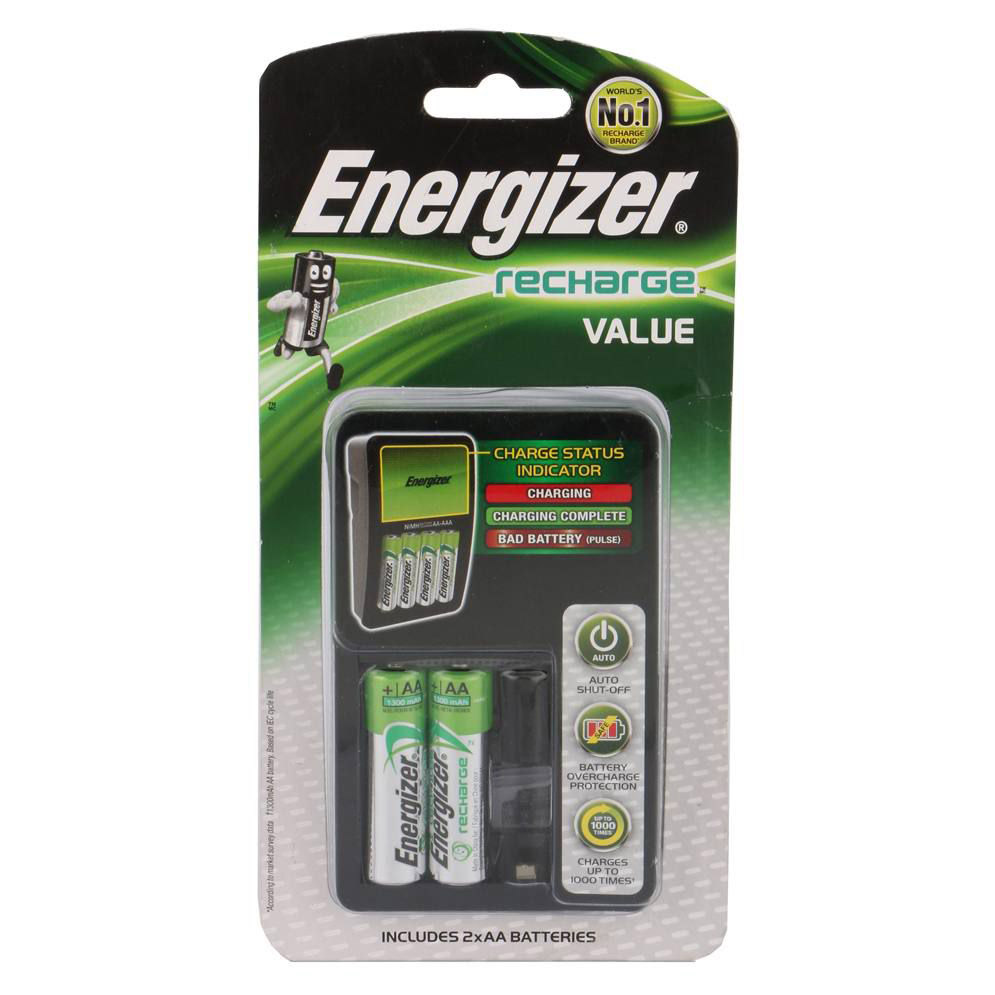 Energizer Recharge Value Charger with 2 AA NiMH rechargeable battery (pc)
