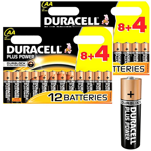 Duracell AA power plus 8+4 (pkt/12pc)
