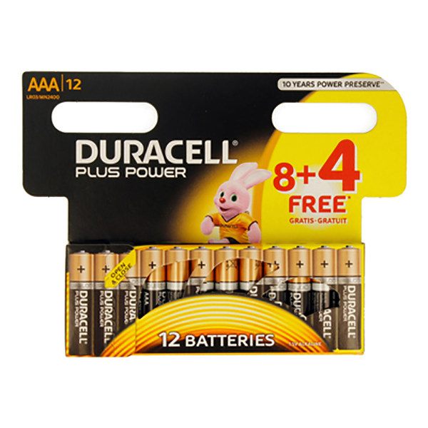 Duracell AAA plus power 8+4(pkt/12pc)