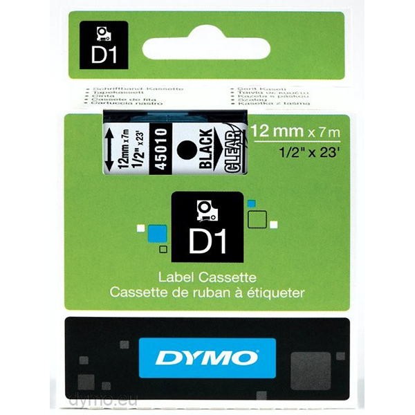 Dymo Label cassete D1 12mm x 7m - Black on Clear (pc)