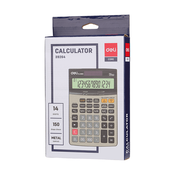 Deli E39264 14-digit Check Tax Metal Calculator