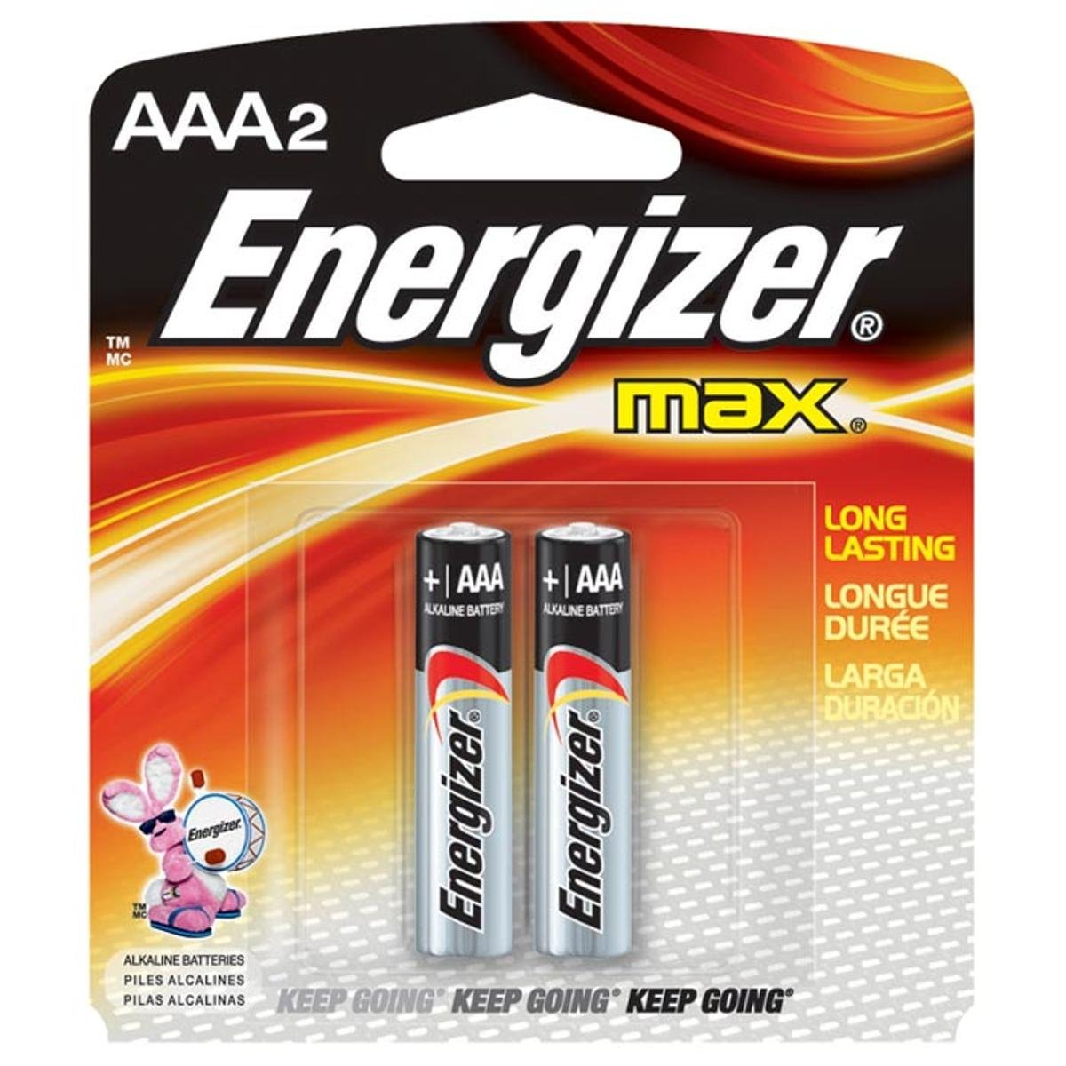 Energizer Max E92BP2 AAA 1.5V Alkaline Battery with Power Seal Technology (pkt/2pc)