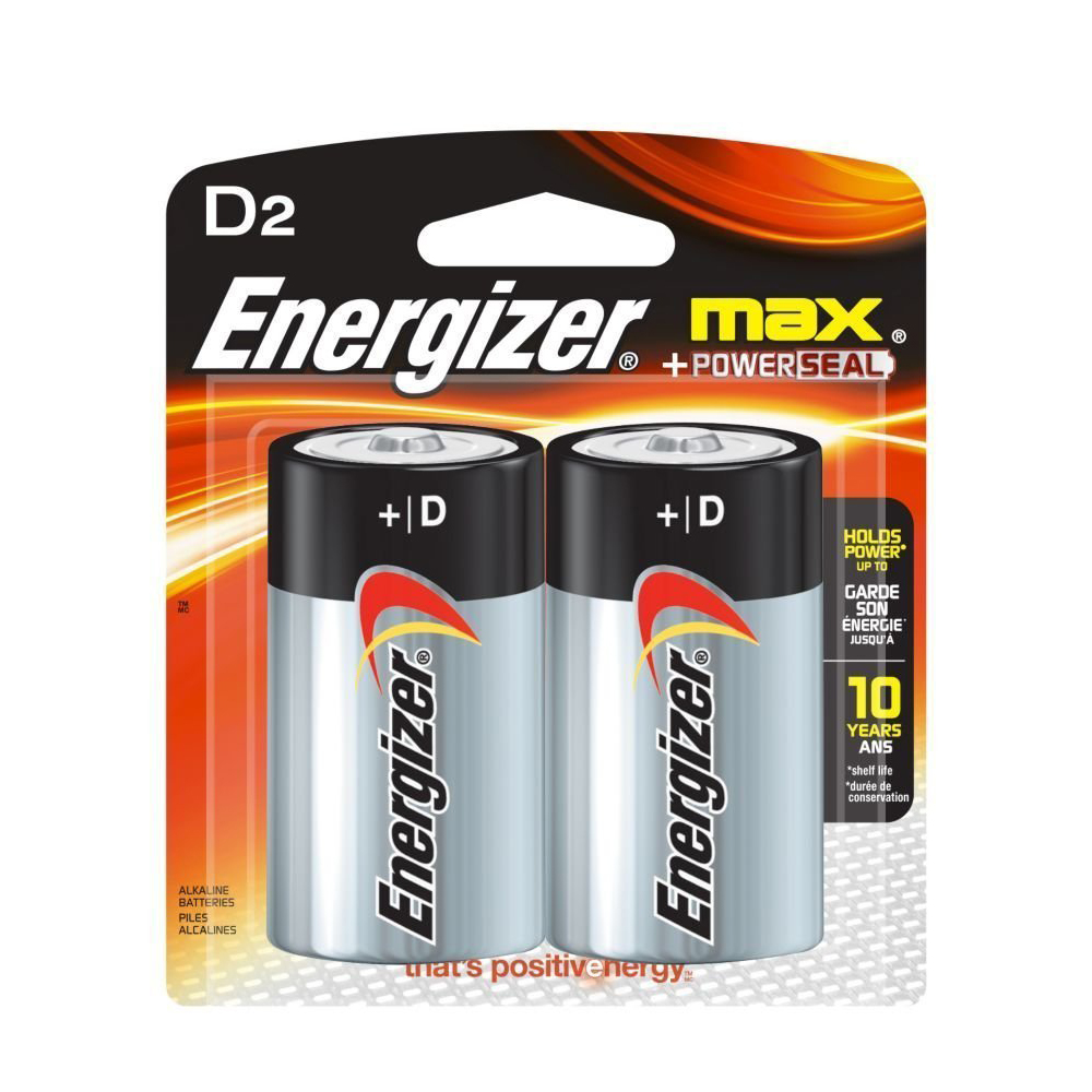 Energizer Max E95BP2 D Cell 1.5V Alkaline Batteries with Power Seal Technology (pkt/2pc)