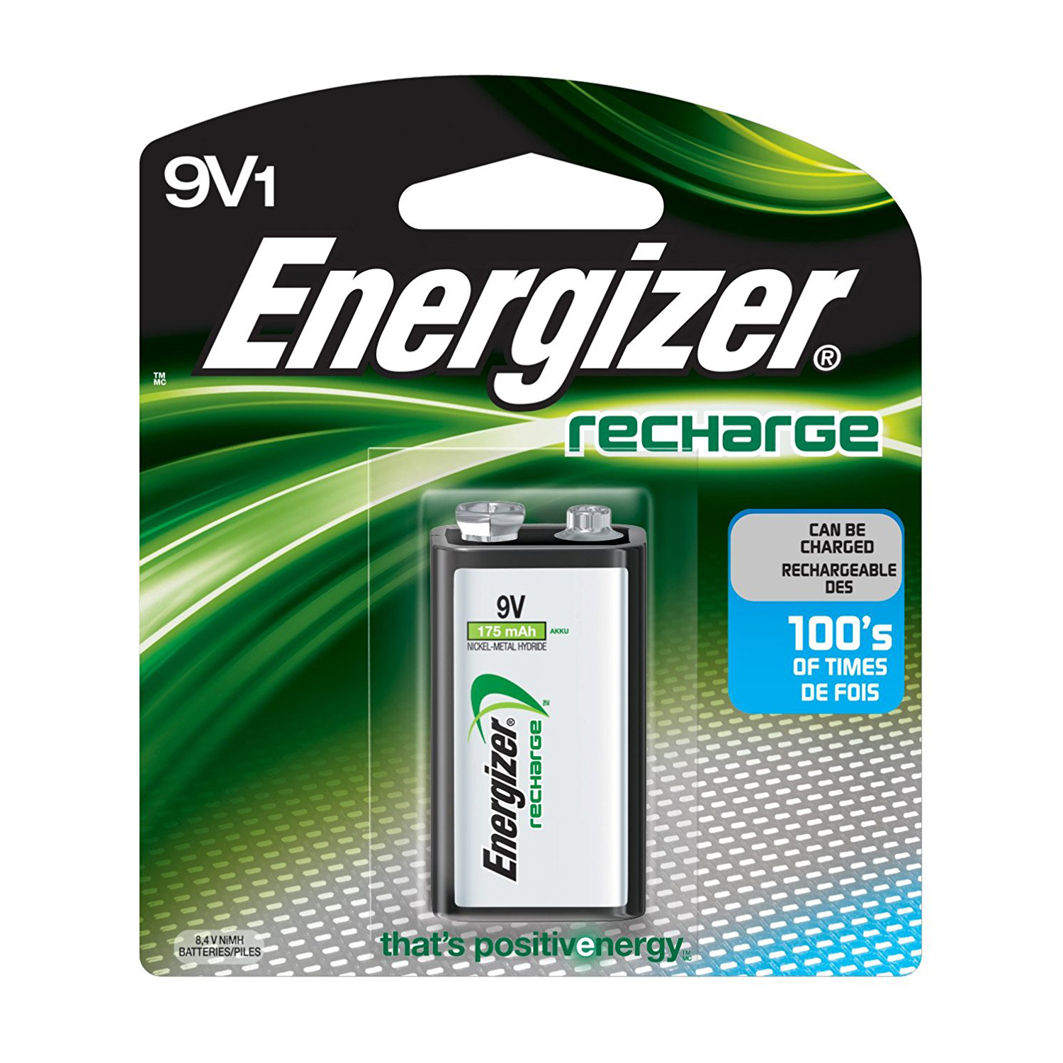 Energizer NH22BP1 '9V' NiMH 175 mah Rechargeable Battery (pc)