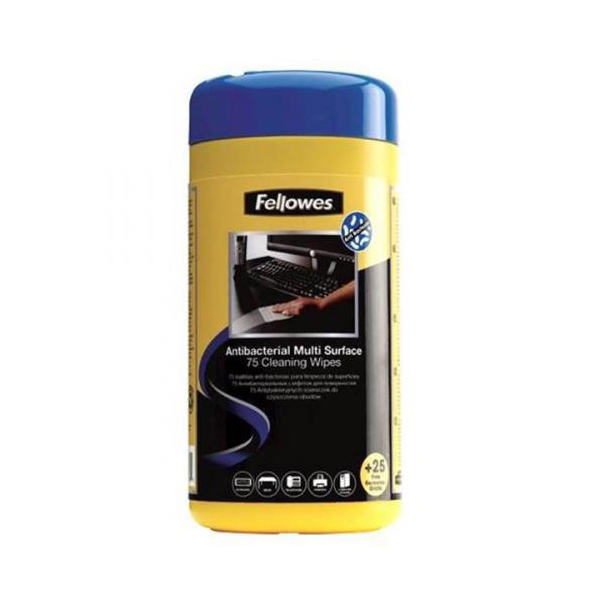 Fellowes Antibacterial Surface Cleaning Wipes - Tub of 75 (+ 25 free)