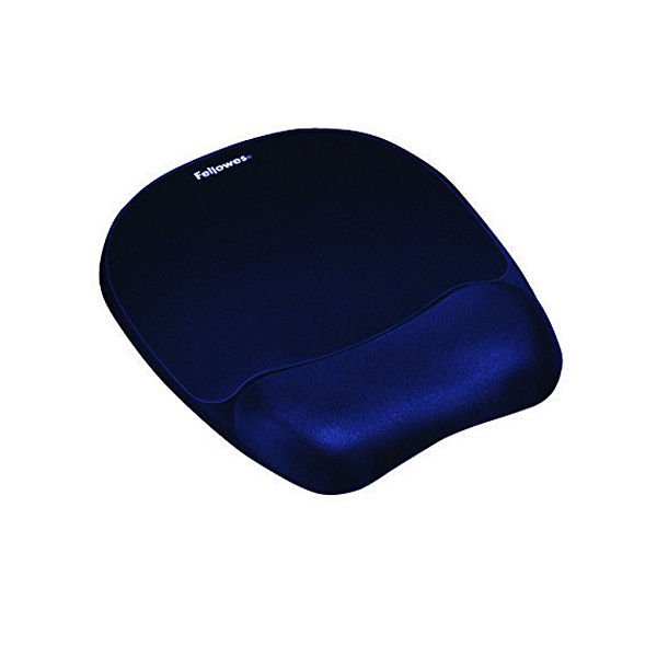 Fellowes Memory Foam Mouse Pad/Wrist Support - Dark Blue