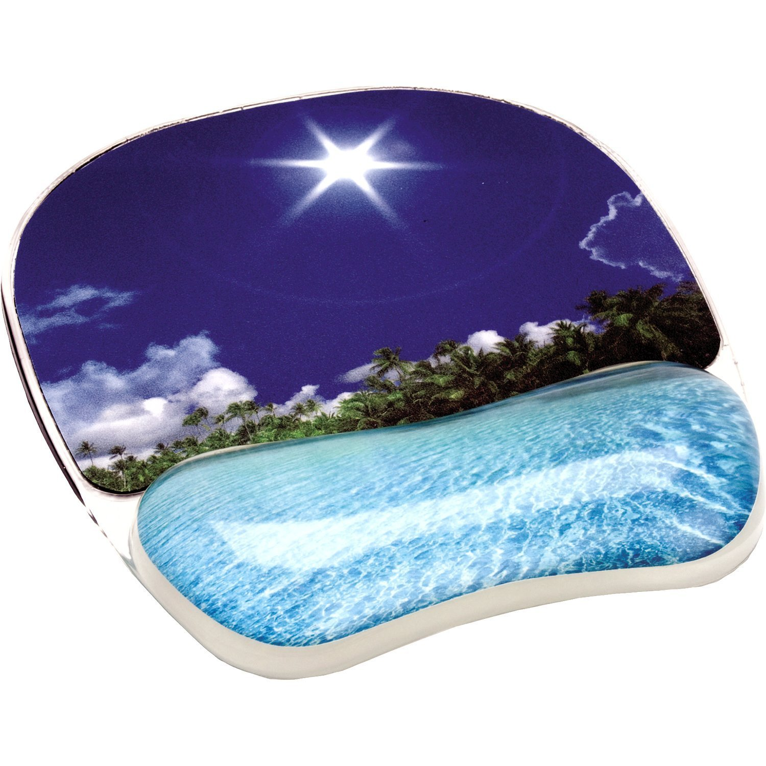 Fellowes Photo Gel Mouse Pad with Wrist Support - Tropical Beach