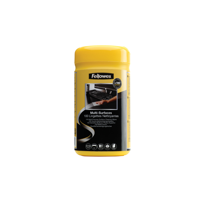 Fellowes Multi-Surface Cleaning Wipes - Tub of 100 (99715)