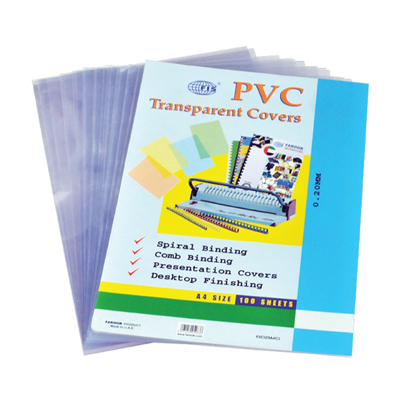 FIS Binding Sheet A4 200mic Clear Transparent Cover (pkt/100pc)